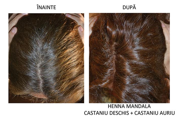 inainte si dupa Henna Mandala Castaniu Auriu si Castaniu Deschis
