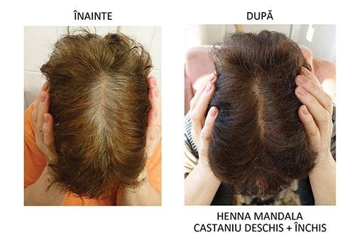 Par vopsit cu Henna Mandala Castaniu Deschis combinat cu Castaniu Inchis