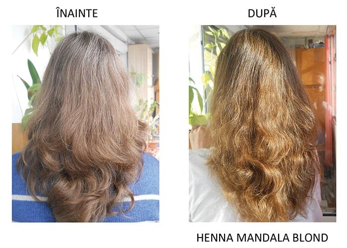 Henna Mandala Blond pe par natural blond cu fire albe