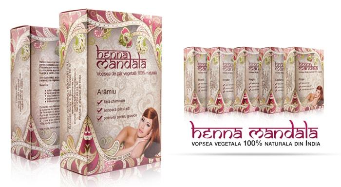 Vopsea de par din plante ayurvedice Henna Mandala culori