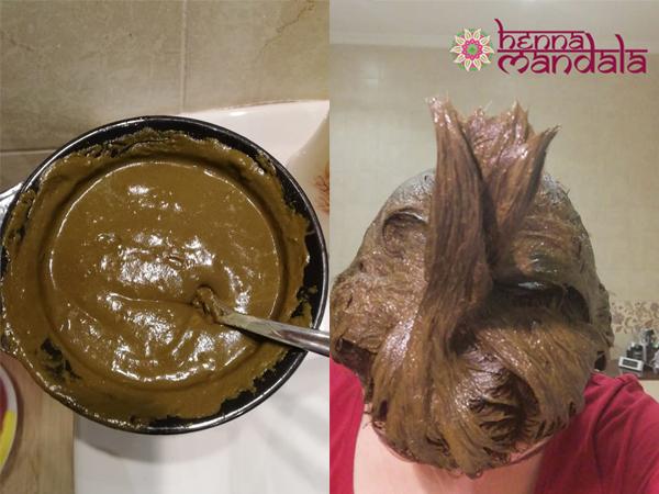 pasta henna mandala preparata si aplicata pe par