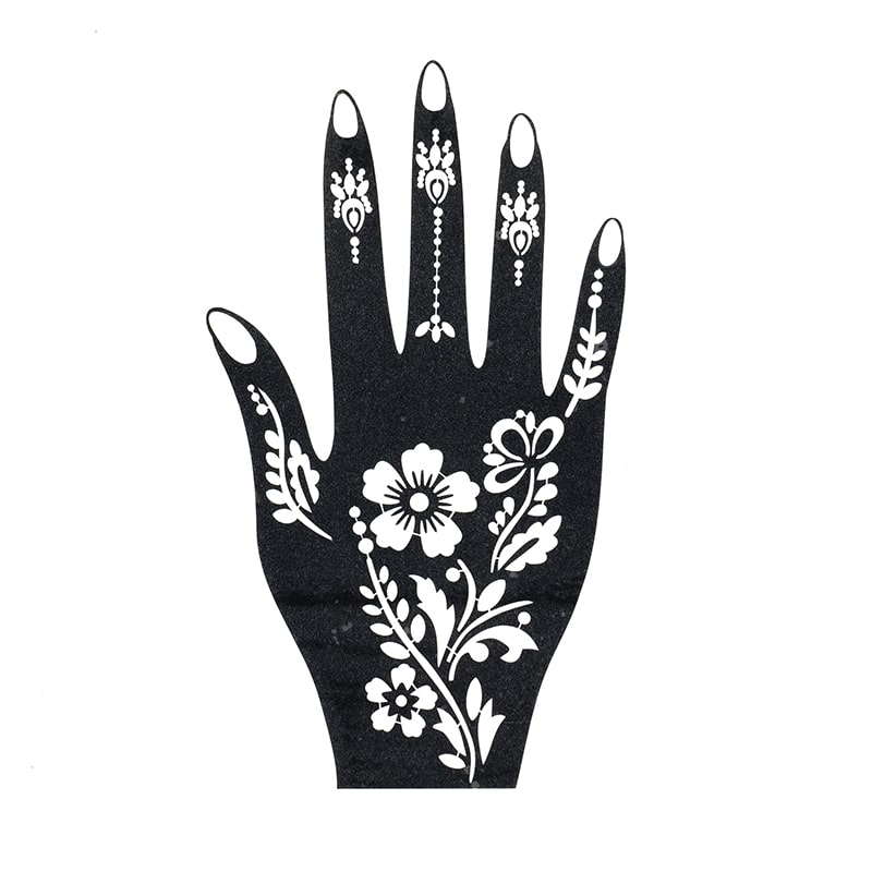 sablon henna tatuaje temporare floral palma dreapta