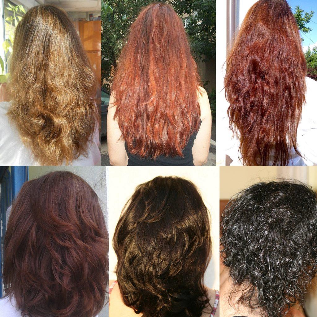 Culori obținute prin vopsirea naturală a părului cu Henna Mandala